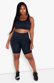 Black Razor Back Sports Bra Plus Sizes