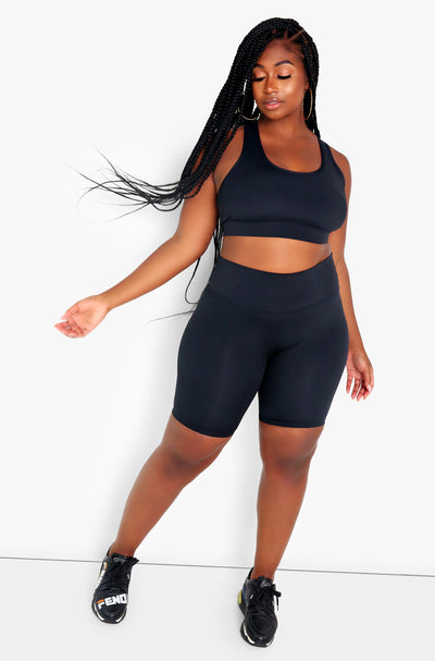 Black High Waist Biker Shorts Plus Size