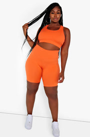 Orange High Waist Biker Shorts Plus Size