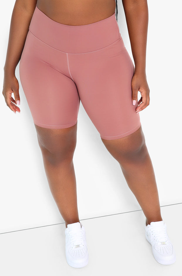 Dusty Pink High Waist Biker Shorts Plus Size