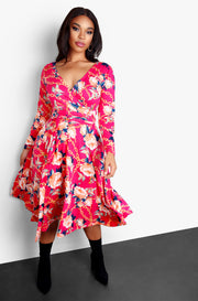 Pink Wrap Around Long Sleeve Kimono Plus Size Midi Dress