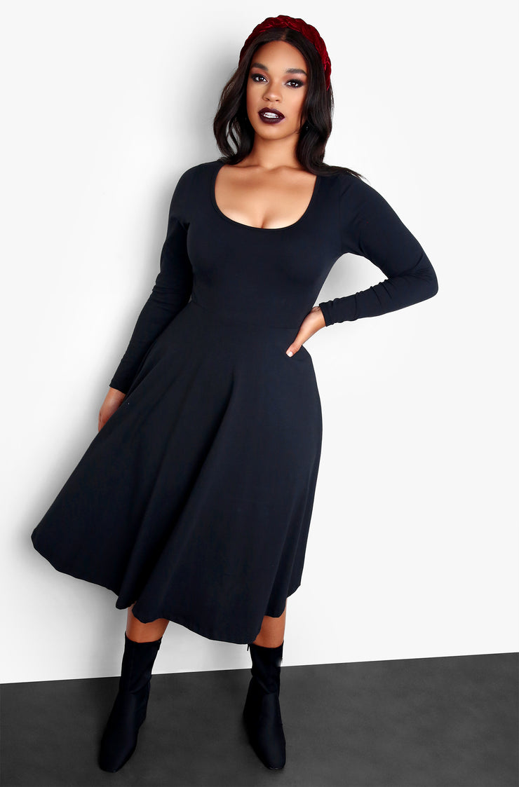 Black Essential Deep Scoop Neck Skater Midi Dress Plus Sizes