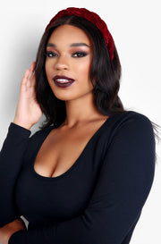 Burgundy Twisted Solid Velvet Headband