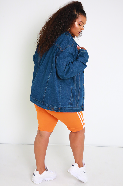 Unbranded. Blue Boyfriend Fit Denim Jacket Plus Sizes