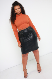 Denise Mercedes Rust Orange Turtleneck Ribbed Crop Top Plus Sizes