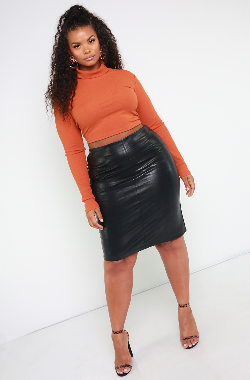 Denise Mercedes Black Faux Leather Skirt Plus Sizes