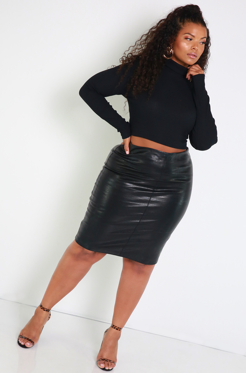 Denise Mercedes Black Turtleneck Ribbed Crop Top Plus Sizes
