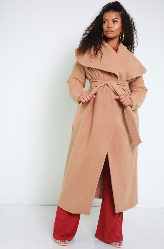 Denise Mercedes Nude Over Sized Collar Coat Plus Sizes