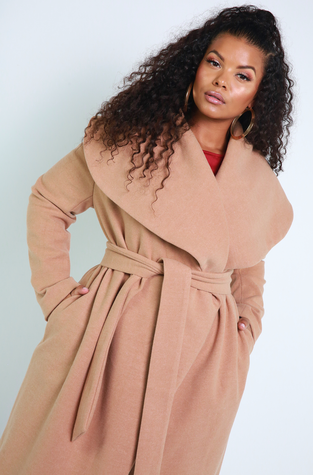 Denise Mercedes Nude Over Sized Collar Waterfall Coat Plus Sizes