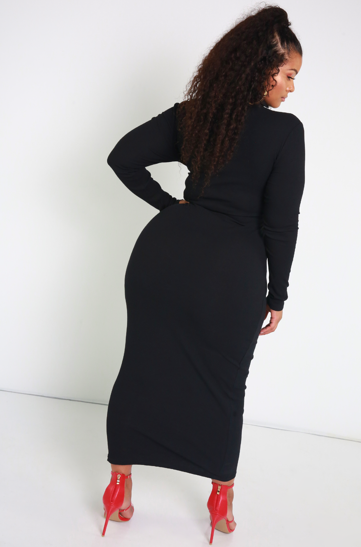 Black Ribbed Turtleneck Maxi Dress Plus Sizes