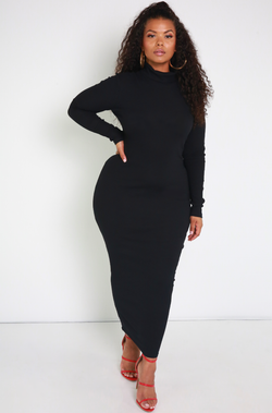 Denise Mercedes Black Ribbed Turtleneck Maxi Dress Plus Sizes