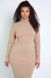Denise Mercedes Nude Ribbed Turtleneck Maxi Dress Plus Sizes