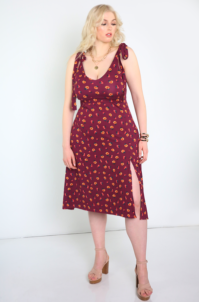 Burgundy A-Line Midi Dress With Slit Plus Sizes