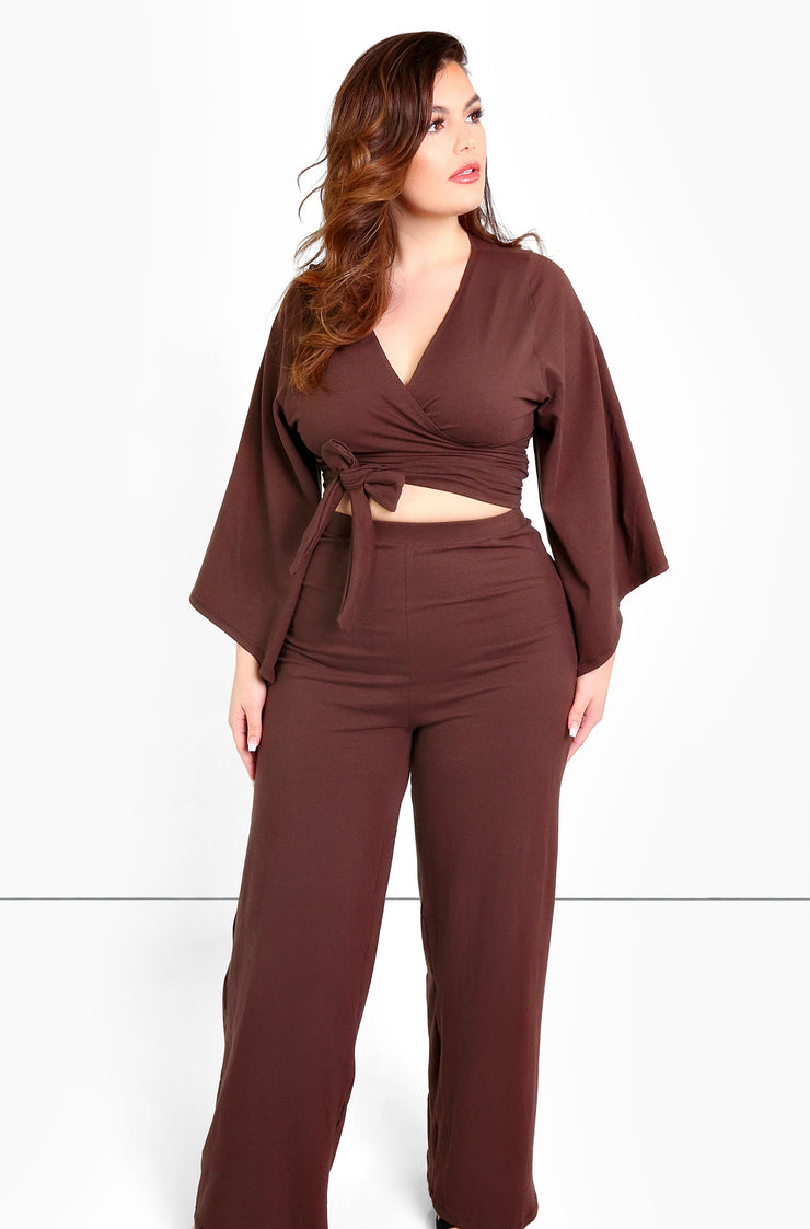 Brown Kimono Wrap Crop Top Plus Size