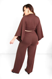 Brown Wide Leg High Waist Pants Plus Size