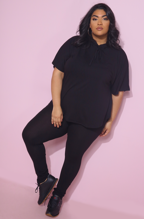 Black Hooded Relaxed Fit Top plus sizes