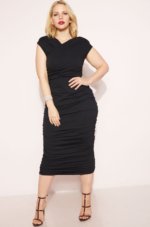 Black Ruched Bodycon Midi Dress plus sizes