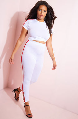 White Striped Leggings plus sizes