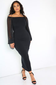 Black Over The Shoulder Maxi Dress Plus Sizes