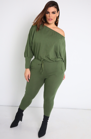 Olive Dolman Sleeve Jumpsuit Plus Sizes