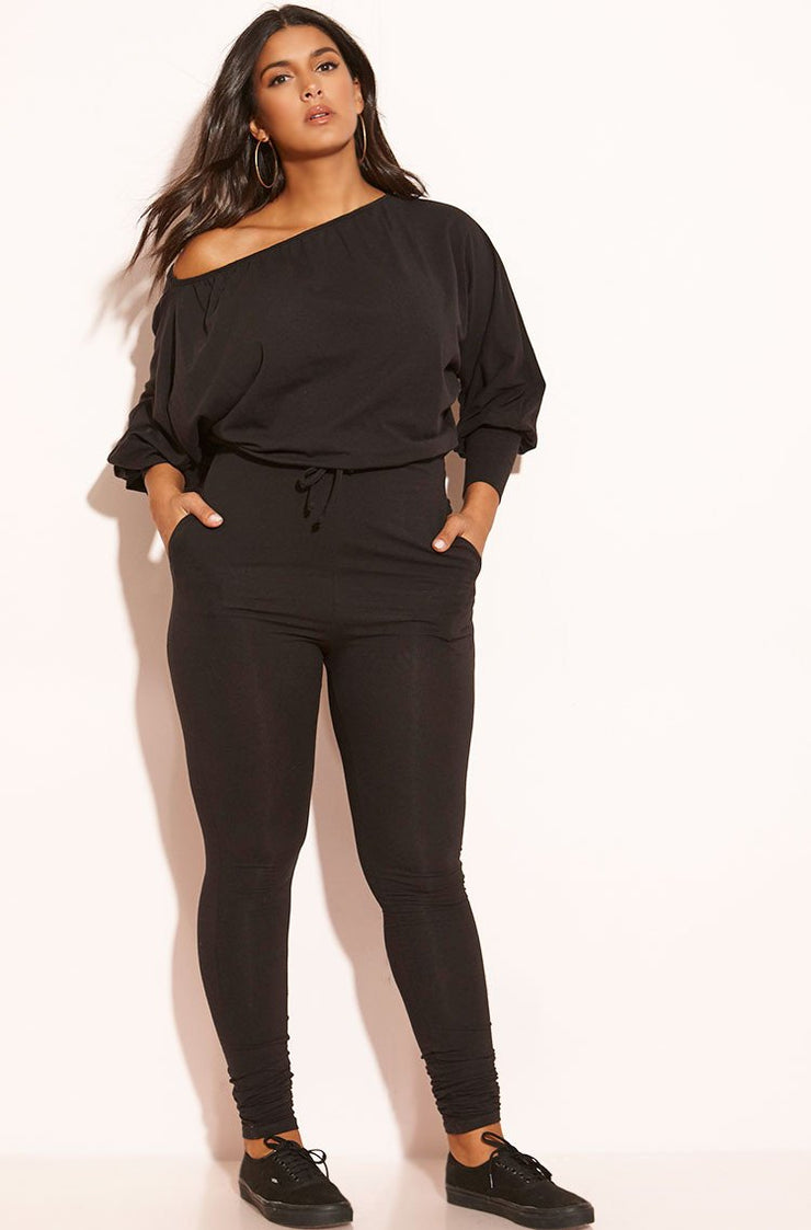 Black Dolman Sleeve Jumpsuit Plus Sizes