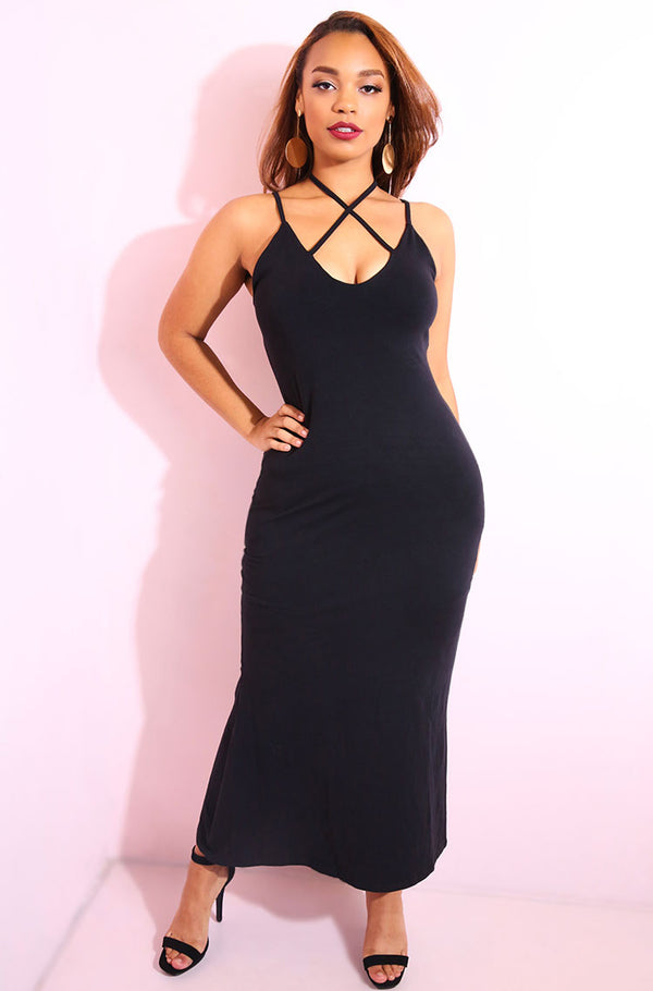 Black Spaghetti Strap Bodycon maxi dress with side slit plus sizes