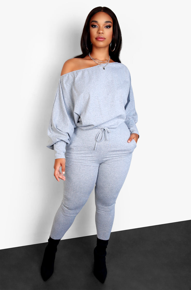 Gray Dolman Plus Size Sleeve Jumpsuit