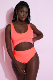 Neon Coral Cut-Out One Piece Swimsuit plus sizes