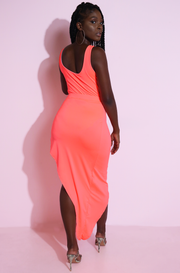 Neon Coral Asymmetrical Skirt plus sizes