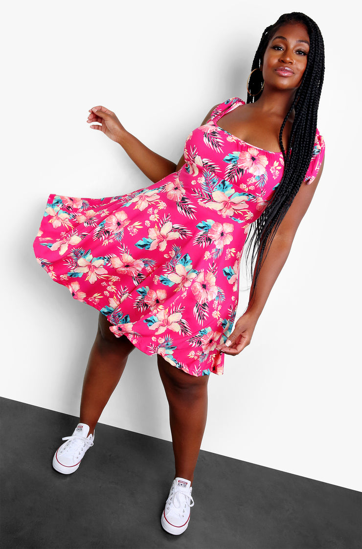 Fuchsia Tropical Floral Tie Strap Mini Dress Plus Sizes