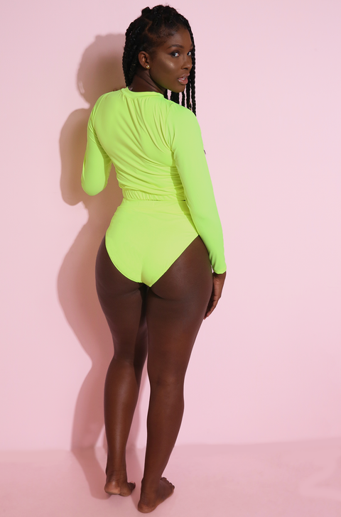 Neon Green Crew Neck Swim Top plus sizes