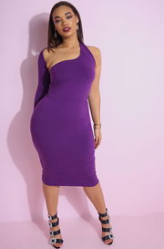 Purple One Shoulder, one sleeve bodycon midi dress plus sizes