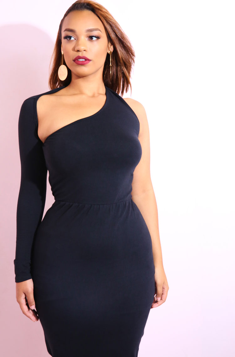 Black One Shoulder, one sleeve bodycon midi dress plus sizes