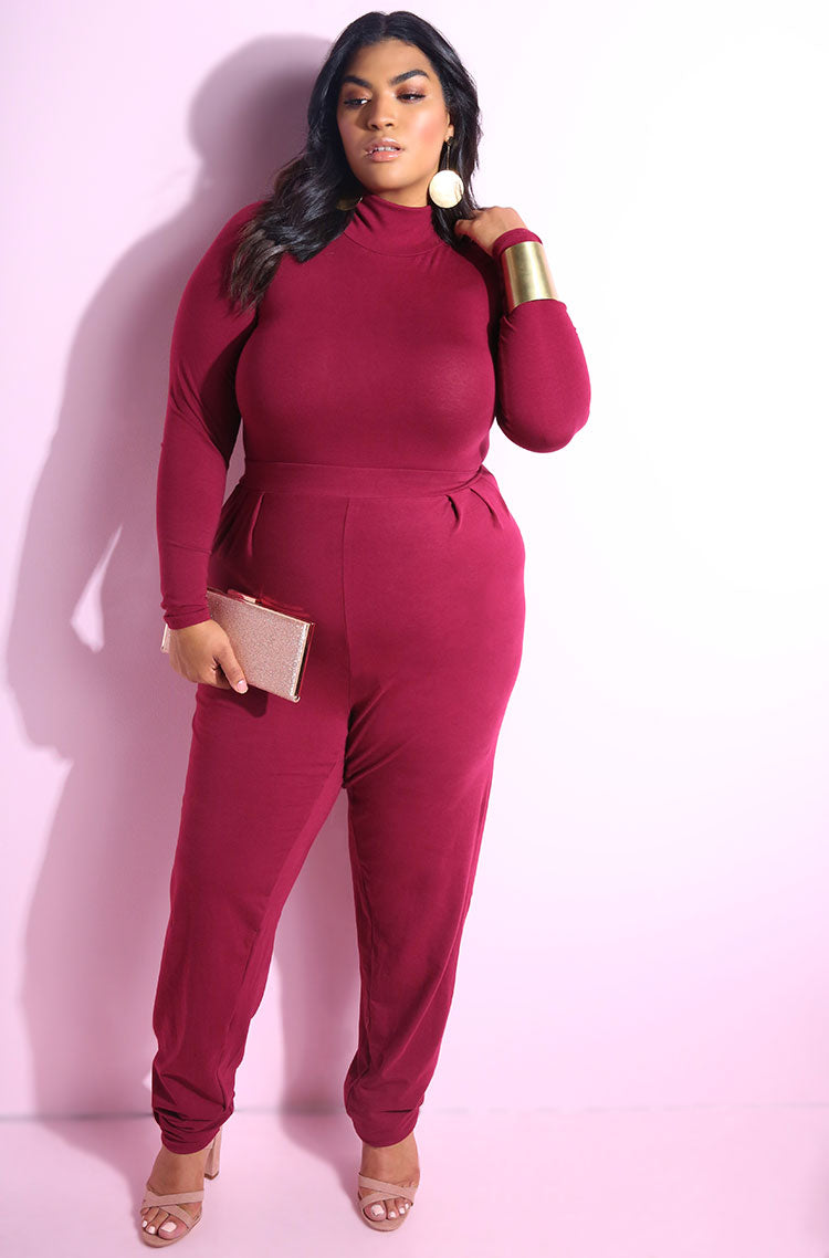 Burgundy Turtleneck long sleeve bodysuit with patching pleated pant plus sizes