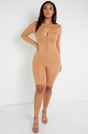 Caramel Henley Cropped Jumper Plus Sizes