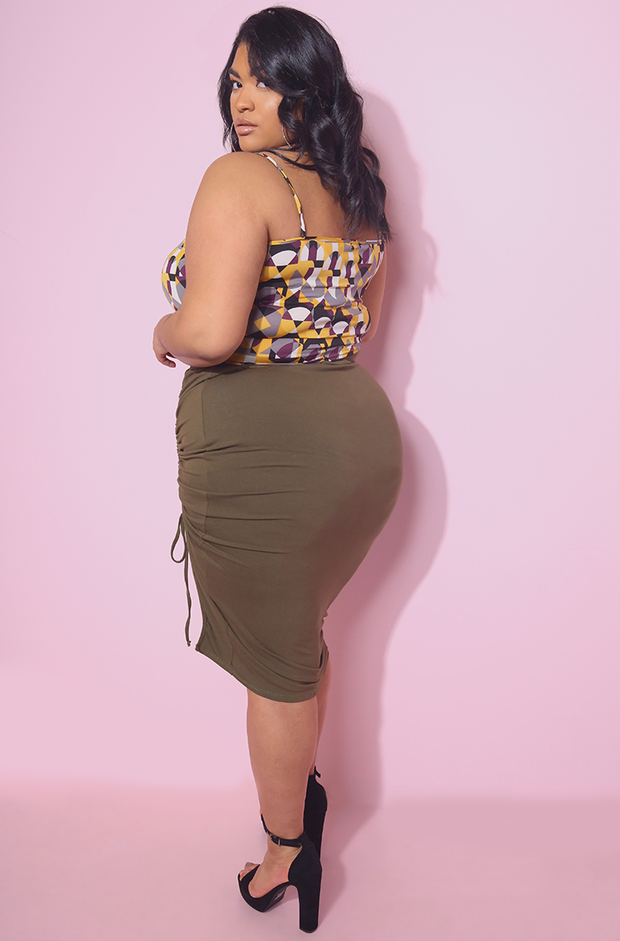 Olive Ruched A-Line Bodycon Midi Skirt Plus Sizes