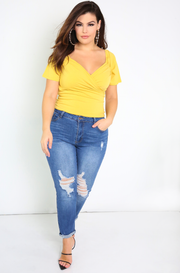 Yellow Ruched Puff Sleeve Top Plus Sizes