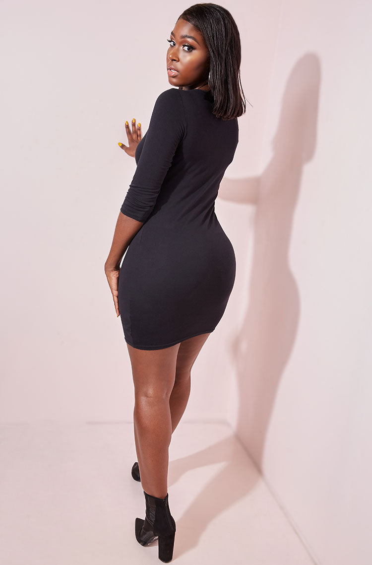 Black Keyhole Bodycon Mini Dress plus sizes