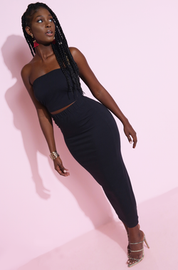 Black Ribbed Bodycon Maxi Skirt Plus Sizes