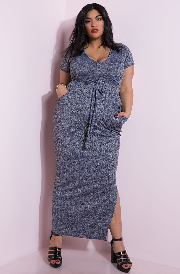 Gray V-Neck Maxi Dress plus sizes