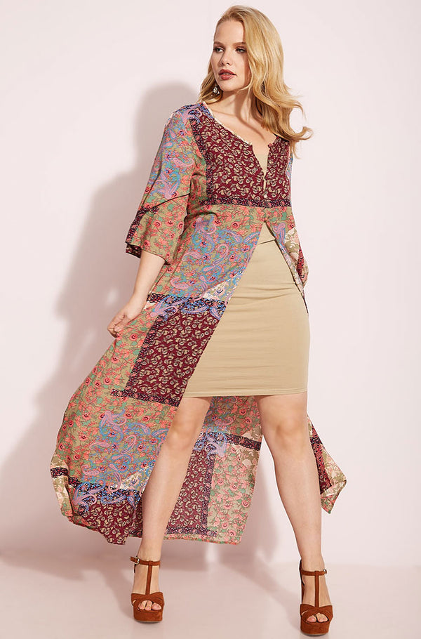 Wine Printed Duster plus sizes