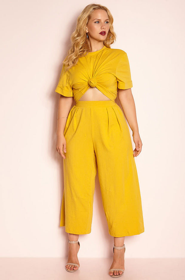 Mustard Oversized Crop Top plus sizes