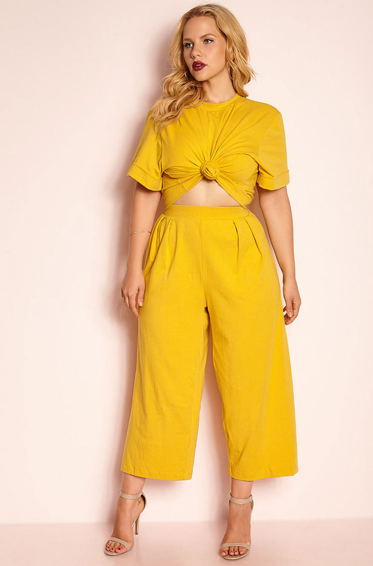 Mustard Cropped Leg Pant plus sizes