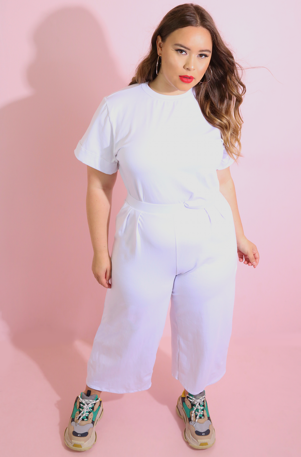White Cropped Leg Pant plus sizes