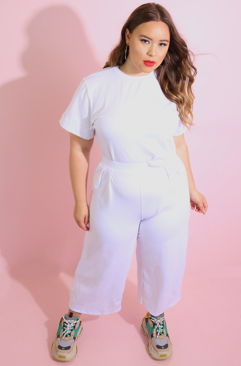 White Oversized Crop Top plus sizes