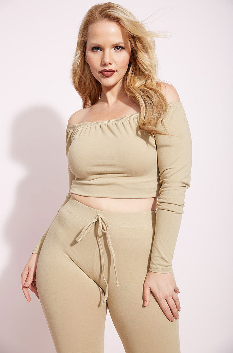 Nude Over The Shoulder Crop Top plus sizes