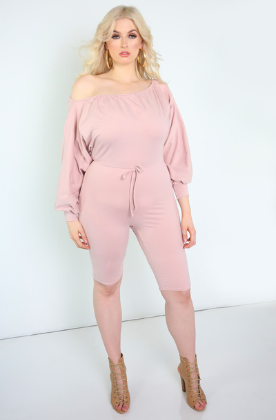 Blush Over The Shoulder Cropped Jumpsuit Plus Sizes
