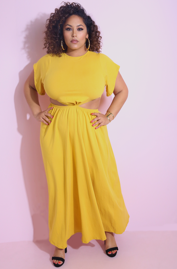 "Rebdolls ""At This Moment"" Cut-Out Skater Maxi Dress"
