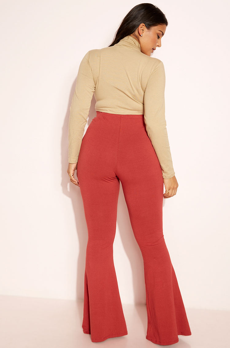 Rust Red Bell Bottom Leggings Plus Sizes