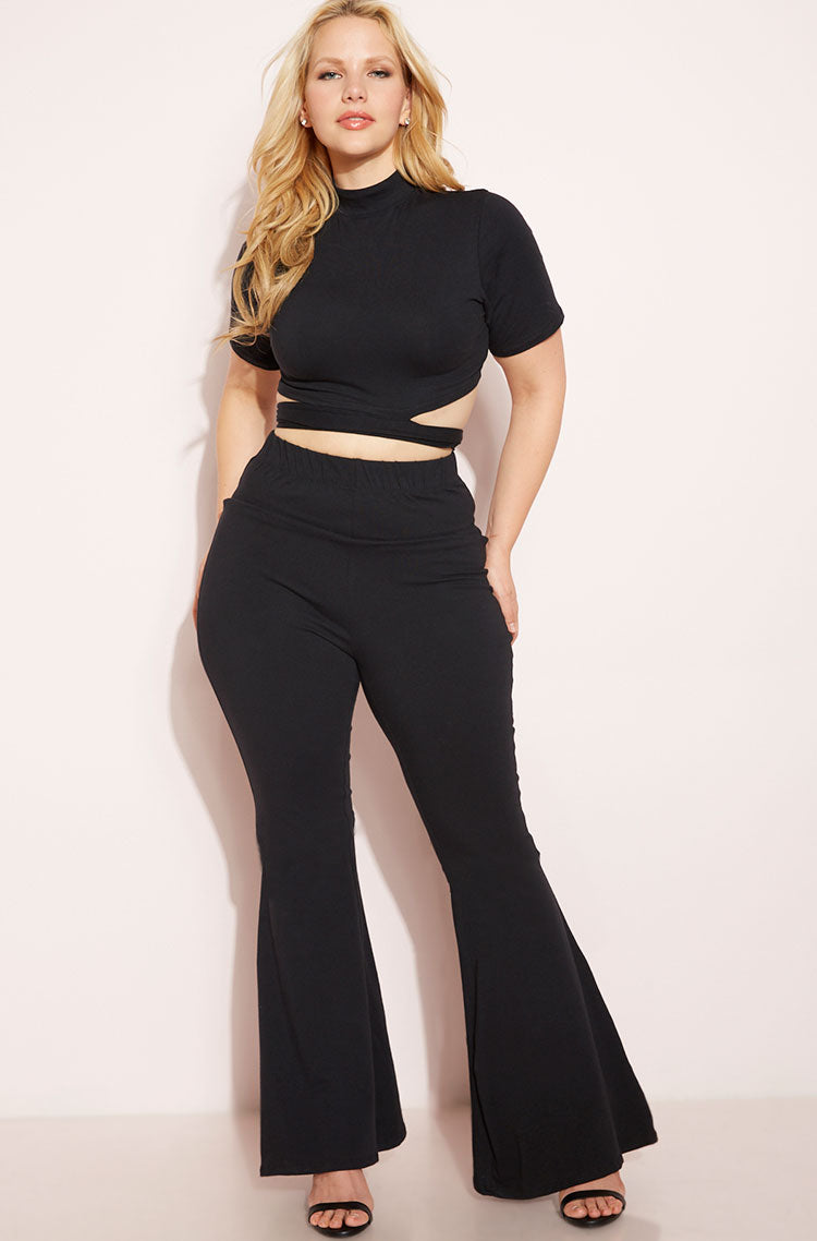 Black Bell Bottom Leggings Plus Sizes